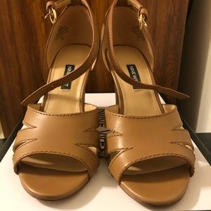 Nine West Dark Natural Leather Lilly Sandals